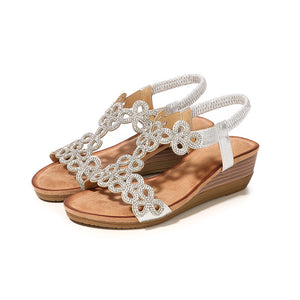 757e8520e 2019 Summer New Rhinestone Bohemian Wedge Sandals Comfortable Large Size  Sandals