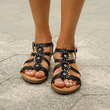 New Bohemian Sandals Ethnic Rhinestone Flower Round Head Sandals Roman Wedges Women's Shoes