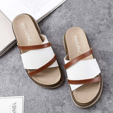 Women's Fashion Roman Outdoor Slippers Thick-soled Leather