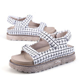 Women's Fashion Summer Casual Low Heels Sandals Cloth Velcro Flats