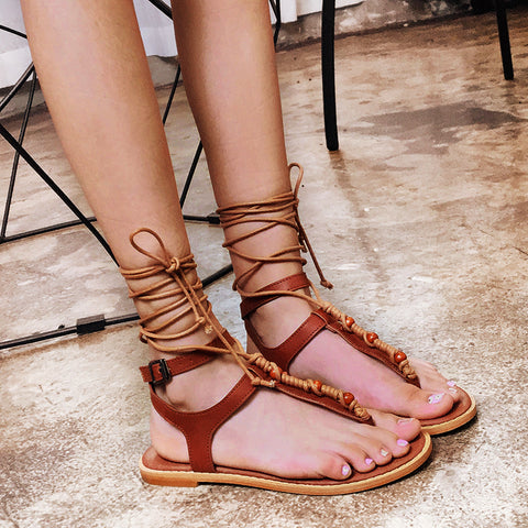 Women's Summer Lace Up Flat Roman Sandals Shoes