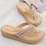 Women's Pearl Rhinestones Sandals Summer Casual Slippers
