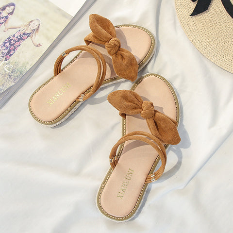Women's Sandals Flat Heel Summer Bow Outdoor Slippers