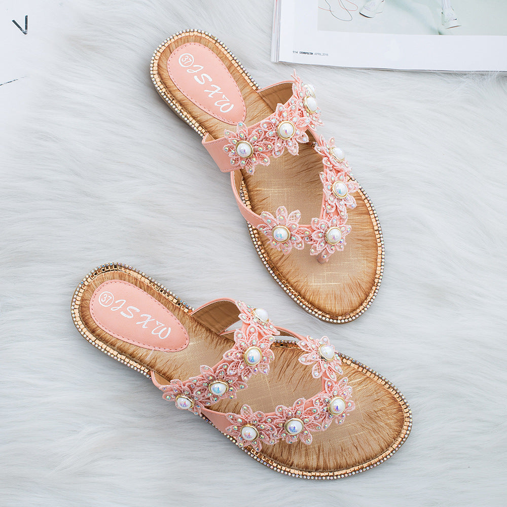 335e2bb0579e3 Women's Flowers Pearl Rhinestones Sandals Summer Casual Slippers