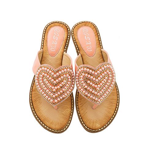 Women's Rhinestones Pearl Heart-shaped Sandals Summer Casual Slippers