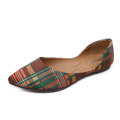 Women's Comfort Flats Shoes Classic Plaid Pointed-toe