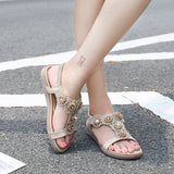 Women's Boho Sandals Casual Rhinestones Floral Style