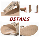 Women's Thick Sole Slippers Flower Rhinestone Solid Color