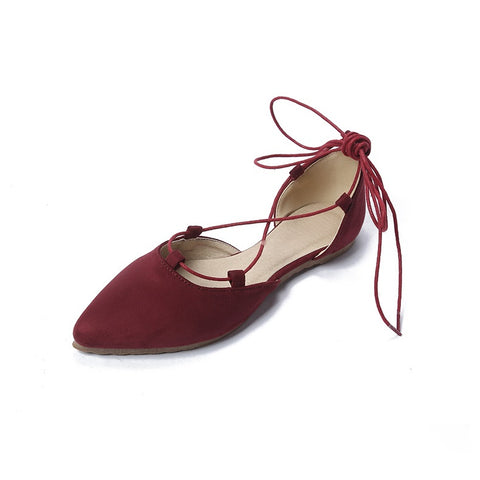 Women's Flats Shoes Pointed Toe Cross Straps Solid Color