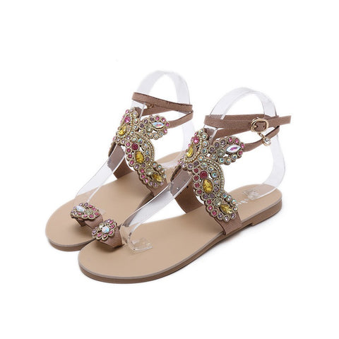 Women's Sandals Flat Heel Comfort Holiday Beach Rhinestone