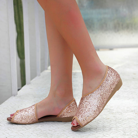 Women's Fashion Sequins Summer Flats Beach Shoes Comfort