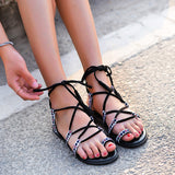 Women's Lace Ankle Strap Sandals Flat Heel Comfort