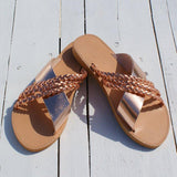 Champagne Cross-straps Flat Sandals