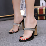Square Head Rhinestone High Heel Mules Shoes