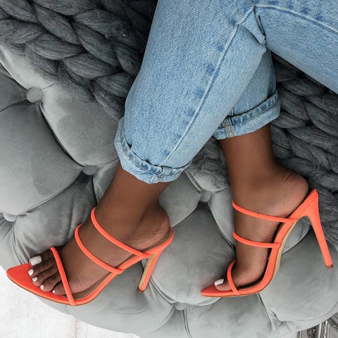 Fluorescent Pointed Stiletto Suede Sandals