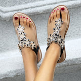 Women's Sandals Casual Summer Daily Flower Rhinestone