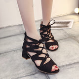Womens Leather Mid Heel Lace-up Sandals
