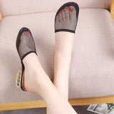 Womens Metal Heel Sandals Mesh Toe Slippers