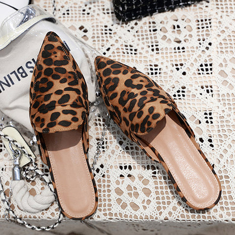 Leopard-printed Flat-bottom Women's Shoes Slippers