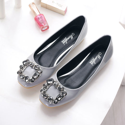 Women's Classic Rhinestone Flats Shoes Patent Leather Office