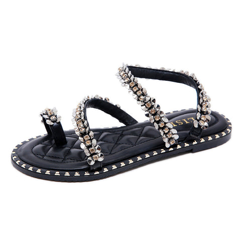 Rhinestones Sandals Flat Heel for Women