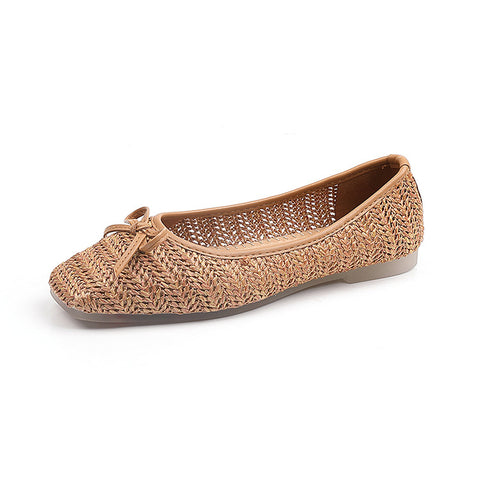 Straw Bow Flat Shoes Fashion Square Toe Comfort Breathable