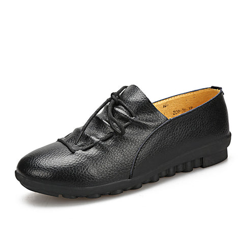 Leather Womens Lace Up Flats