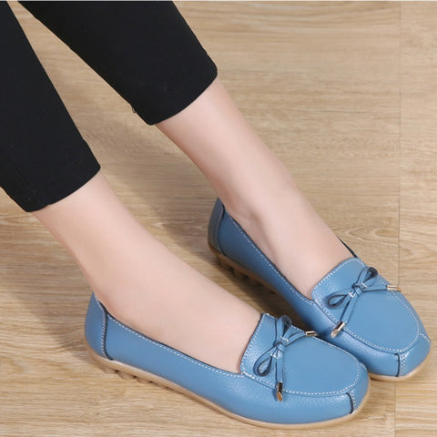 Simple Style Classic Flats Leather Bow Soft Sole