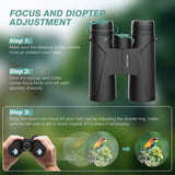12x42 Binoculars for Adults, Compact HD Professional Binoculars for Hunting, Concert Travel Bird Watching Sports Traveling, BAK4 FMC Lens with Carrying Bag and Neck Strap