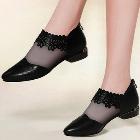 Floral Mesh Pointed Toe Low Heel Flats for Women