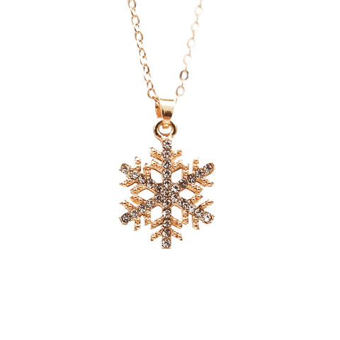 Women's Snowflake with Diamond Necklace Sweater Chain Accessories