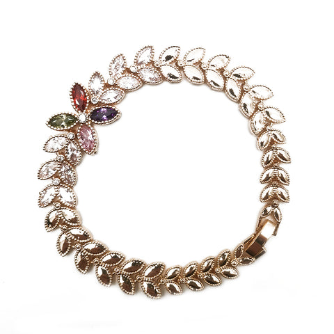 Women's Colorful Leaf Shape Gemstone Bracelet Fashion Jewelry