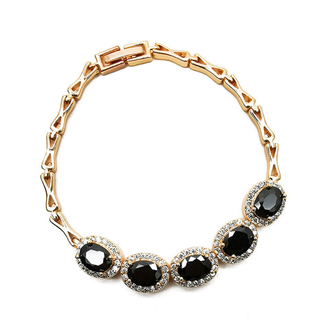 Women's Black Gemstone Bracelet Fashion Accessories