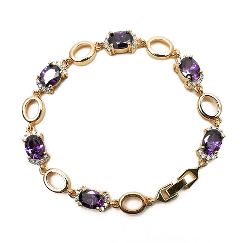 Women's Purple Inlaid Gemstone Bracelet Fashion Jewelry