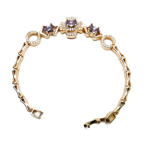 Women's Purple Gemstone Diamond Bracelet Fashion Jewelry
