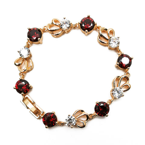 Women's Red Gemstone Diamond Bracelet Fashion Jewelry