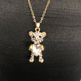 Women's New Bear with Diamond Necklace Sweater Chain Apparel Accessories
