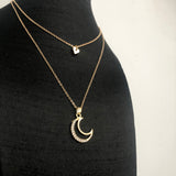 Women's New Moon with Diamond Necklace Sweater Chain Accessories