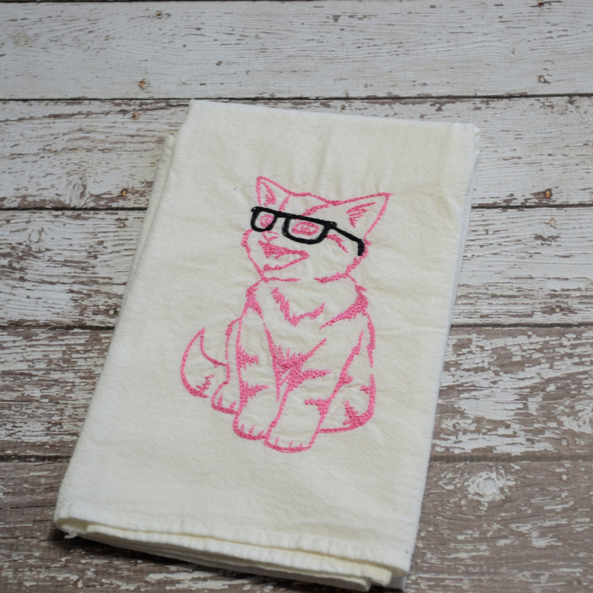 *SECONDS* Tea Towel - Nerdy Kitty Pink with Black Glasses - T49