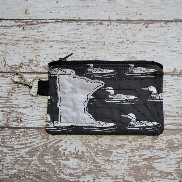 READY TO SHIP - Minnesota Loon Coin Purse - Black & White