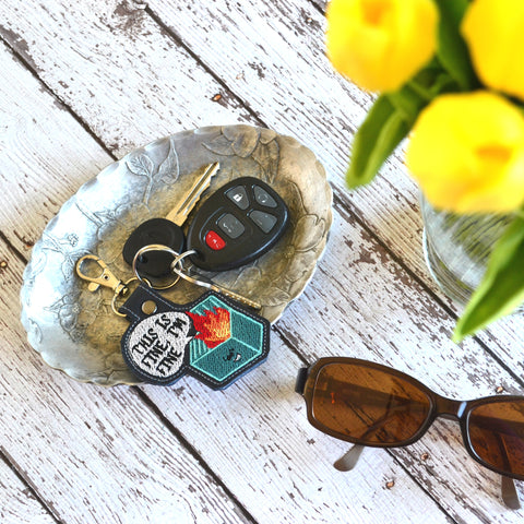 READY TO SHIP 'This is fine, I'm fine' Leather Keychain - Key Fob
