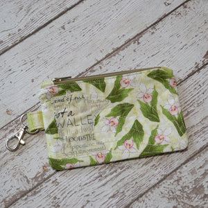 READY TO SHIP Minnesota Coin Purse - Lady Slippers with MN Text MN (Olive Zipper)