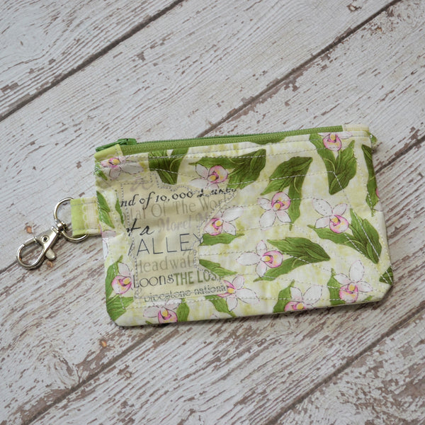 READY TO SHIP Minnesota Coin Purse - Lady Slippers with MN Text MN (Green Zipper)