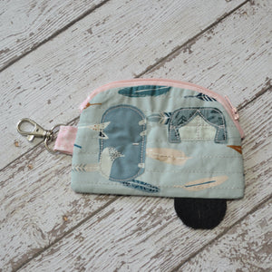 READY TO SHIP - Camper Coin Purse - Feathers