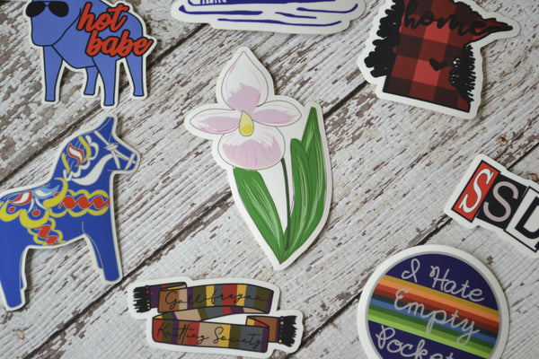 "NEW! Ready to ship - 'Lady Slipper' Vinyl Sticker - 2.5"" x 4.1"""