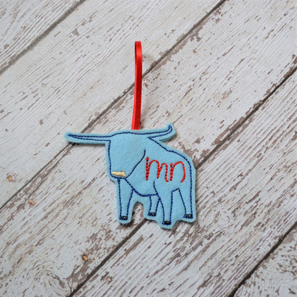 READY TO SHIP - MN Blue Ox Felt Ornament - Babe the Blue Ox