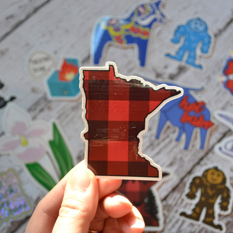 "NEW! Ready to ship - 'MN Plaid' Vinyl Sticker - 2.7"" x 2.4"""