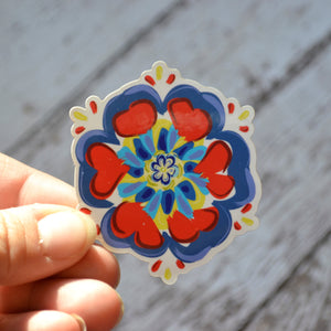 "NEW! Ready to ship - 'Scandinavian Flower' Vinyl Sticker - 2.5"" x 2.2"""