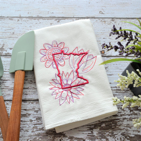Spring Flowers - State Tea Towel - All 50 States (Pink or Red)