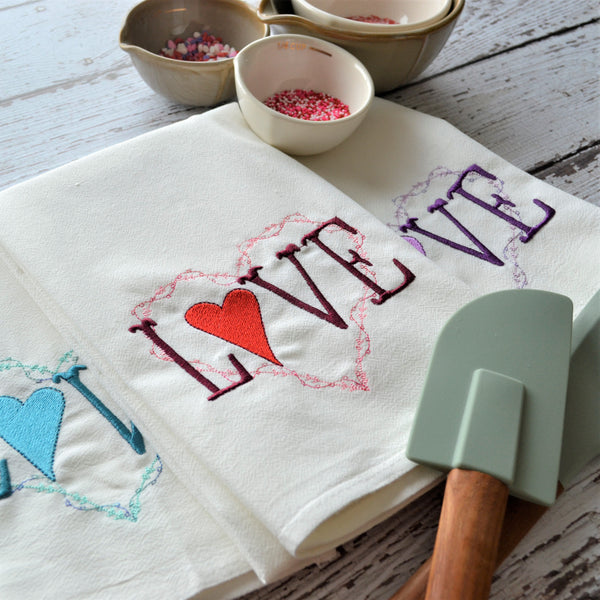 LOVE heart Floursack Towel - Valentine's Day